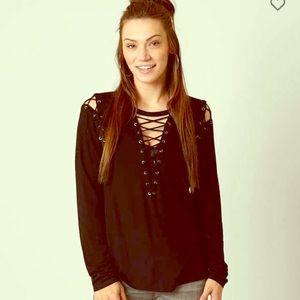 Lace up long sleeve black shirt